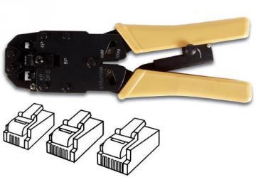 Pince à sertir professionnelle pour connecteurs modulaires RJ10 - RJ11 - RJ12 - RJ45 VTM468P