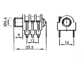 Jack femelle 6.35mm stéréo à coupe circuit CA046