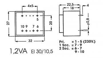Transformateur moulé 1.2VA tension au choix