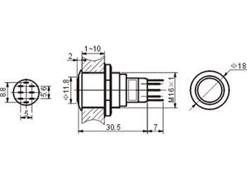 Bouton poussoir rond métallique inverseur