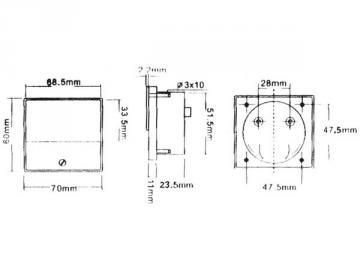 Ampèremètre analogique de tableau 70 x 60mm